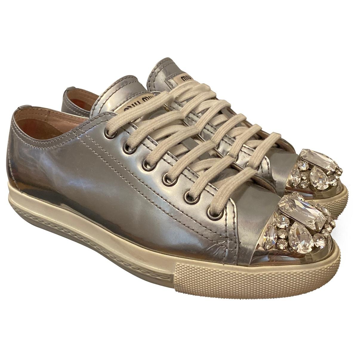 Miu Miu \N Sneakers in  Metallic Leder