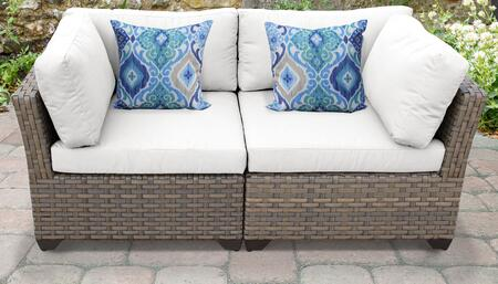 Monterey Collection MONTEREY-02a-WHITE 2-Piece Patio Wicker Loveseat with 2x Corner Chairs - Beige and Sail White