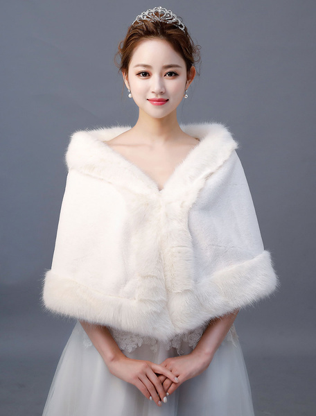 Milanoo Wedding Shawl Faux Fur Wrap Ivory Bridal Winter Cover Up