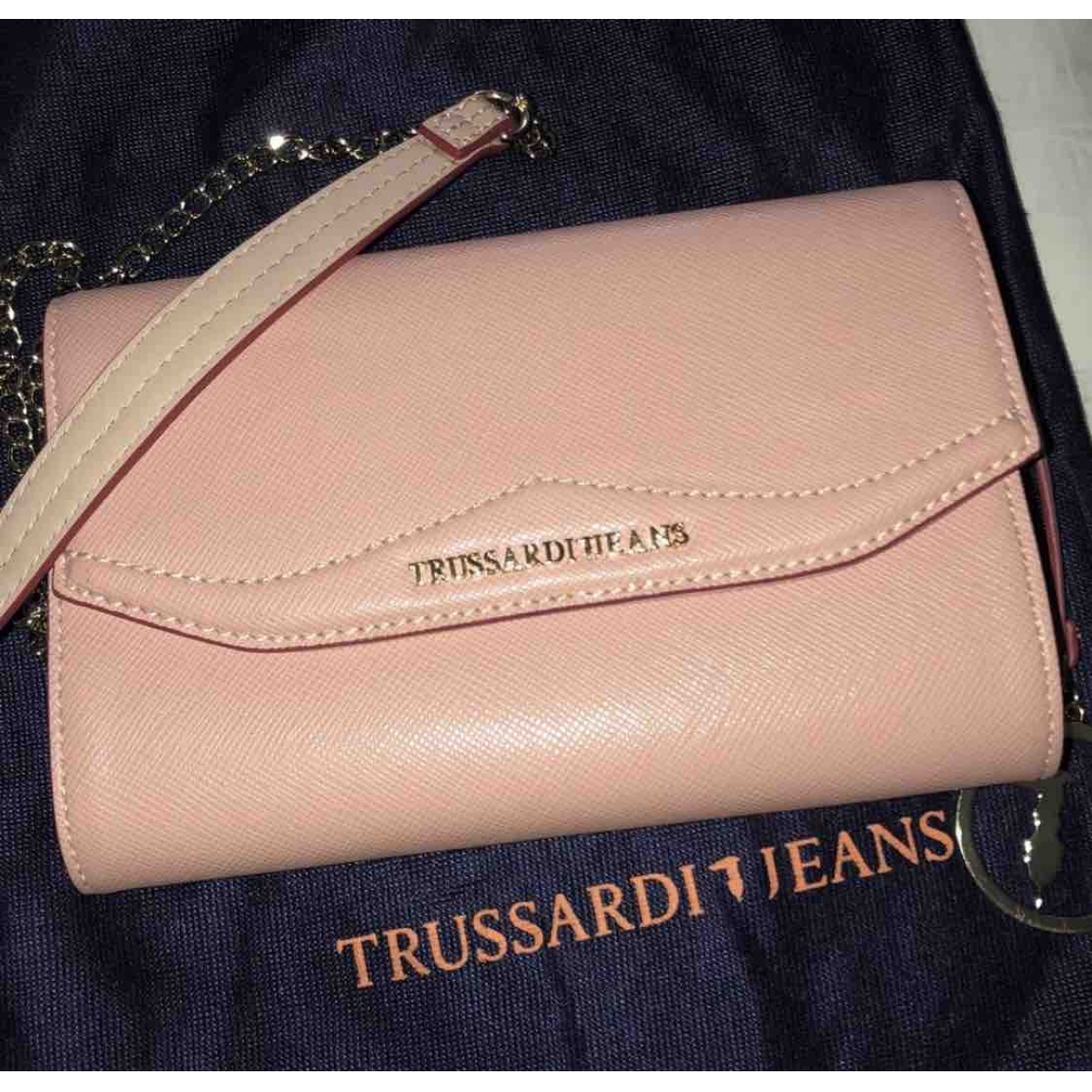 Trussardi - Pochette   pour femme en cuir - rose