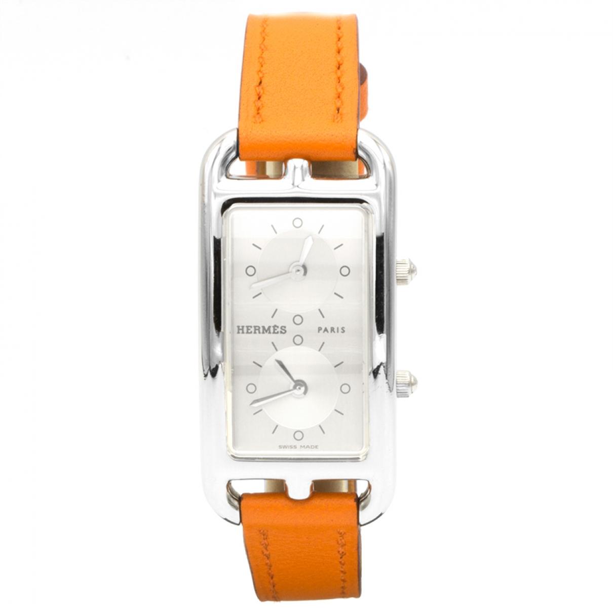 Hermès Cape Cod Dual Time Orange Steel watch for Women \N