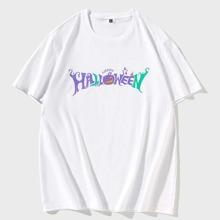 T-Shirt mit Halloween Muster und rundem Kragen