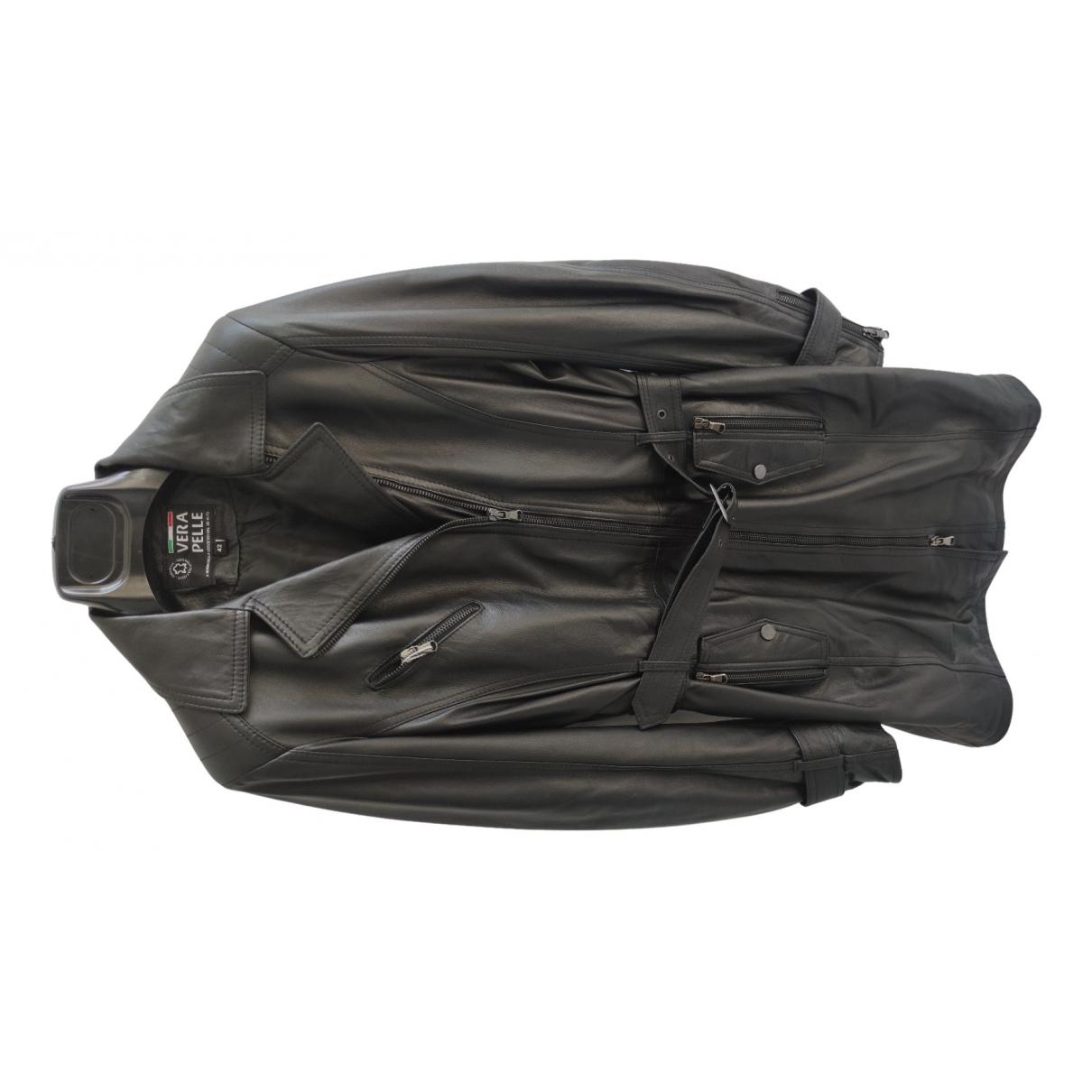 - Blouson   pour femme en cuir - noir