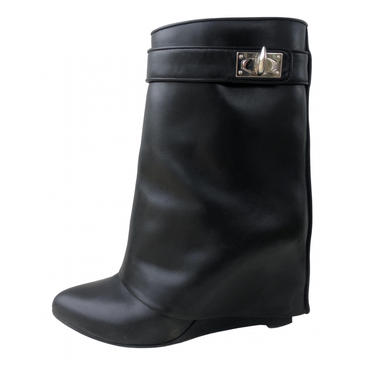 Givenchy Shark Black Leather Ankle boots for Women 39.5 EU