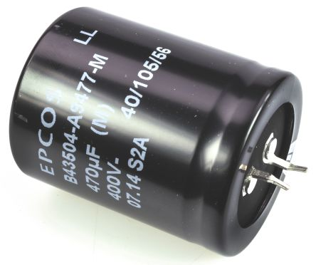 EPCOS 470μF Electrolytic Capacitor 400V dc, Snap-In - B43504A9477M000