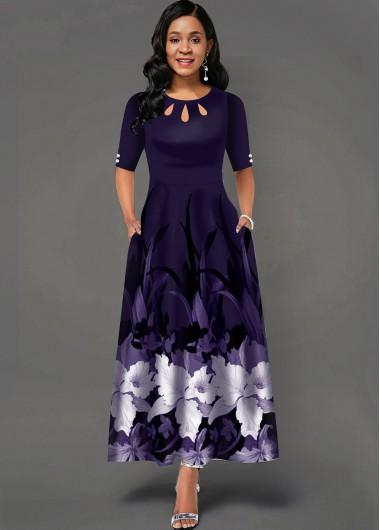 Wedding Guest Dress Cutout Neck Side Pocket Floral Print Maxi Dress - XL