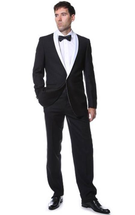Mens 2 Toned Black With White Lapel 1 button Suit Tuxedo