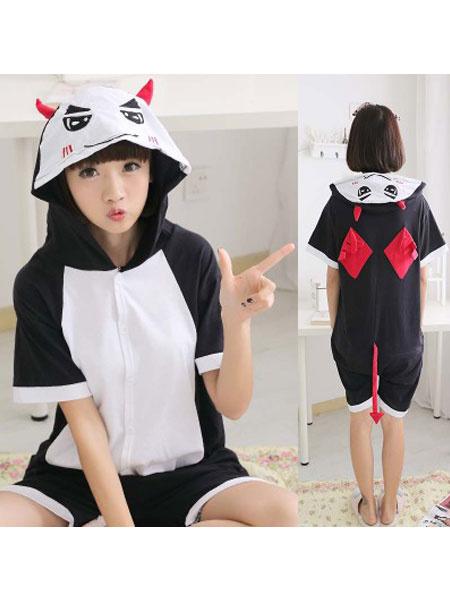 Milanoo Kigurumi Pajamas Onesie Black Short Summer Animal Sleepwear For Adults