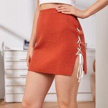 Lace Up Side Knit Skirt