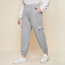 Jogginghose mit Taschen Klappen und elastischer Taille