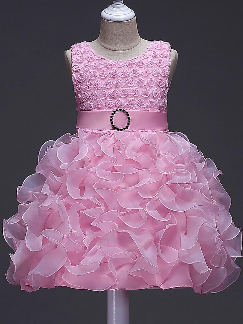 Ericdress Bowknot Girl's Layered Ball Dress With Belt