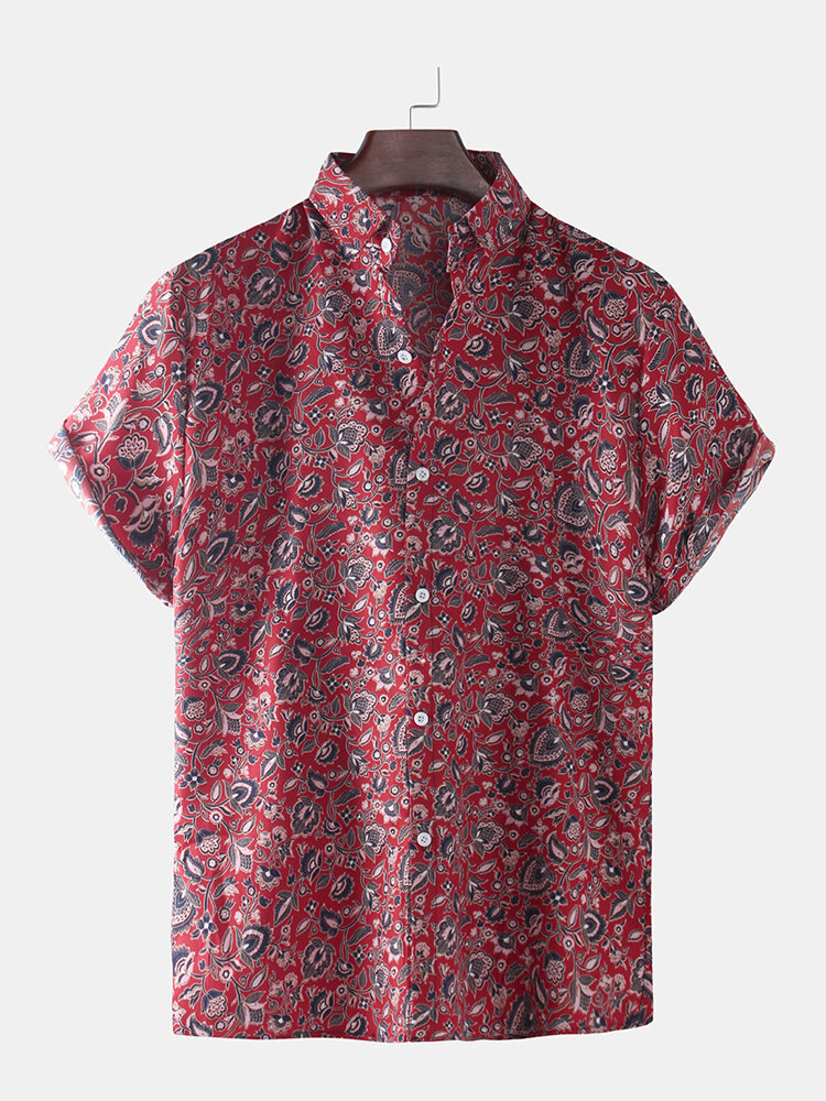 Mens Ethnic Paisley Overall Printed Holiday Casual Short Sleeve Shirt