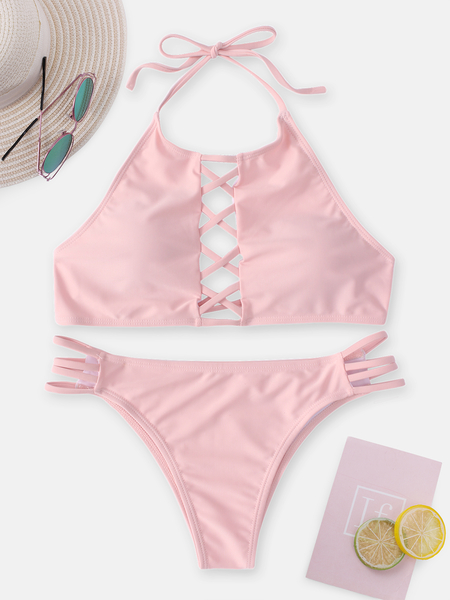 Yoins Pink Criss Cross Halter Neck Backless Bikini Set