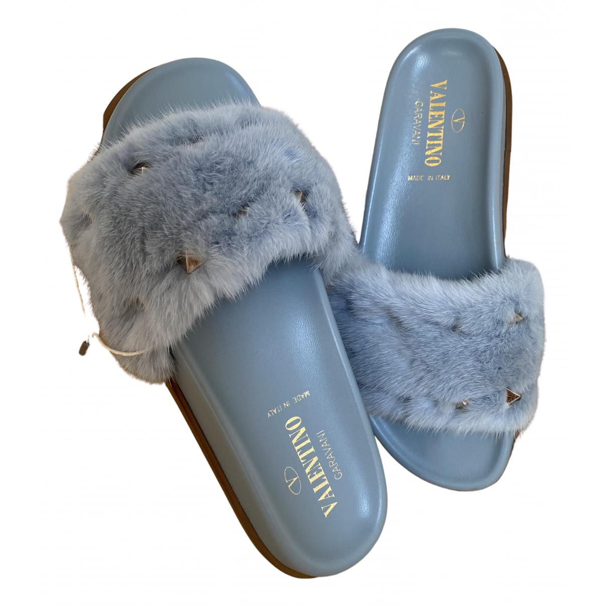 Valentino Garavani \N Turquoise Mink Sandals for Women 37 EU