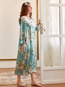 Contrast Lace Floral Print Nightdress