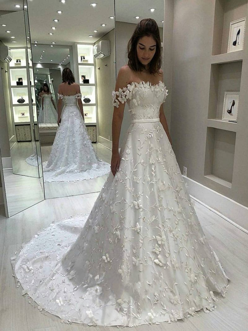 Ericdress Court Train Off-The-Shoulder Appliques Wedding Dress
