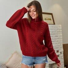 Kate Kasin Drop Shoulder Turtle Neck Sweater