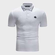 Camisa polo de hombres con estampado de dibujo de cuello de rayas