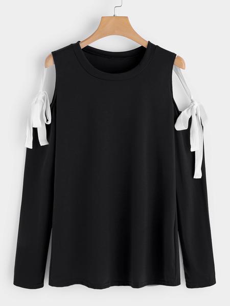 Yoins Black Lace-up Design Cold Shoulder Long Sleeves T-shirts