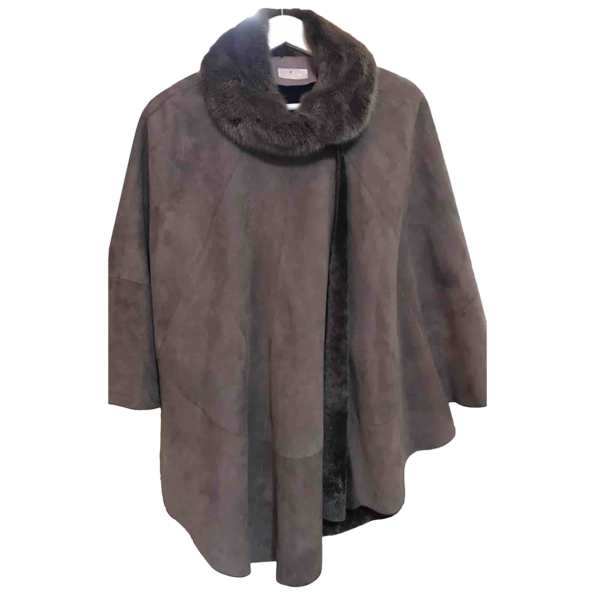Kiton \N Grey Shearling Leather jacket for Women 42 IT