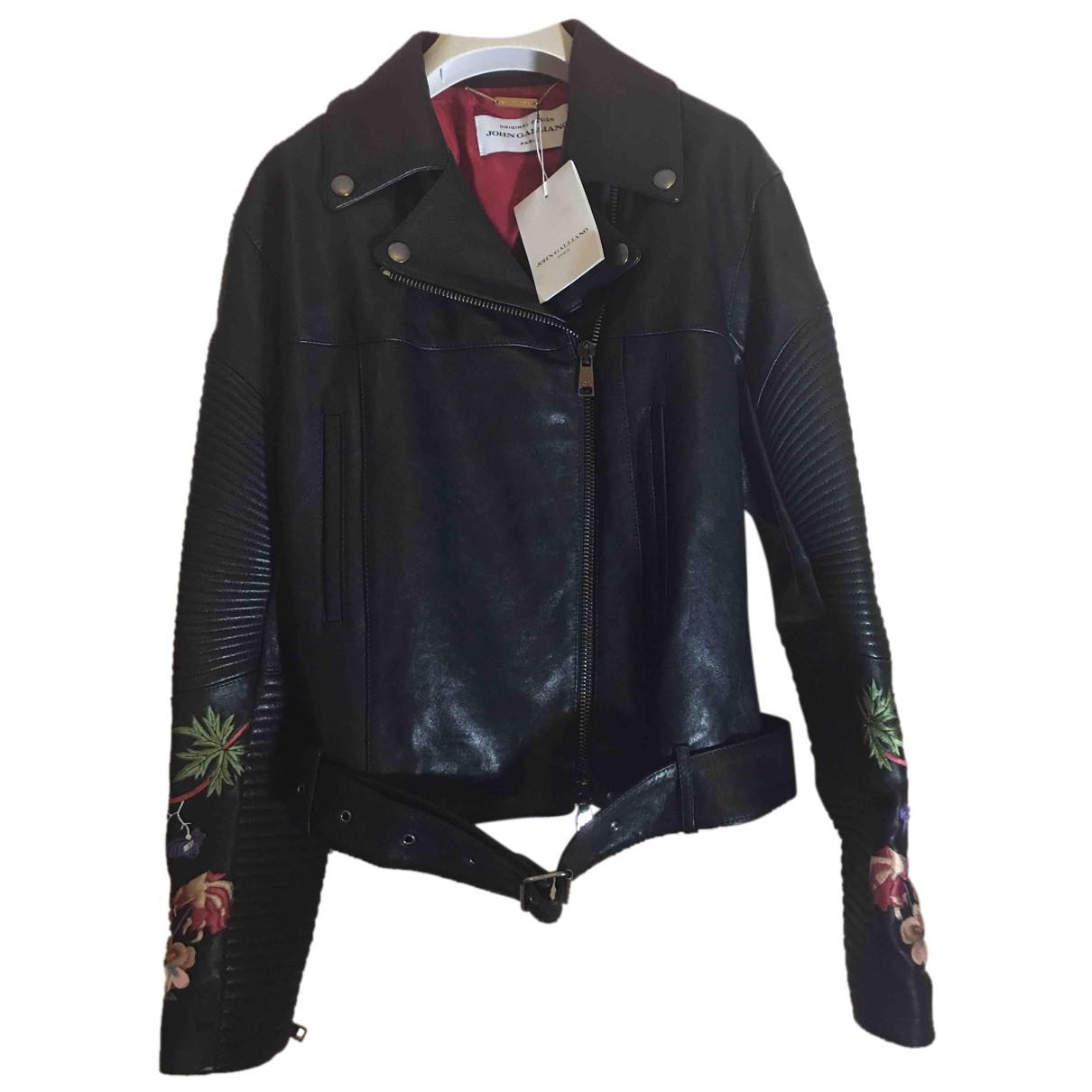 John Galliano N Black Leather Leather jacket for Women 38 FR
