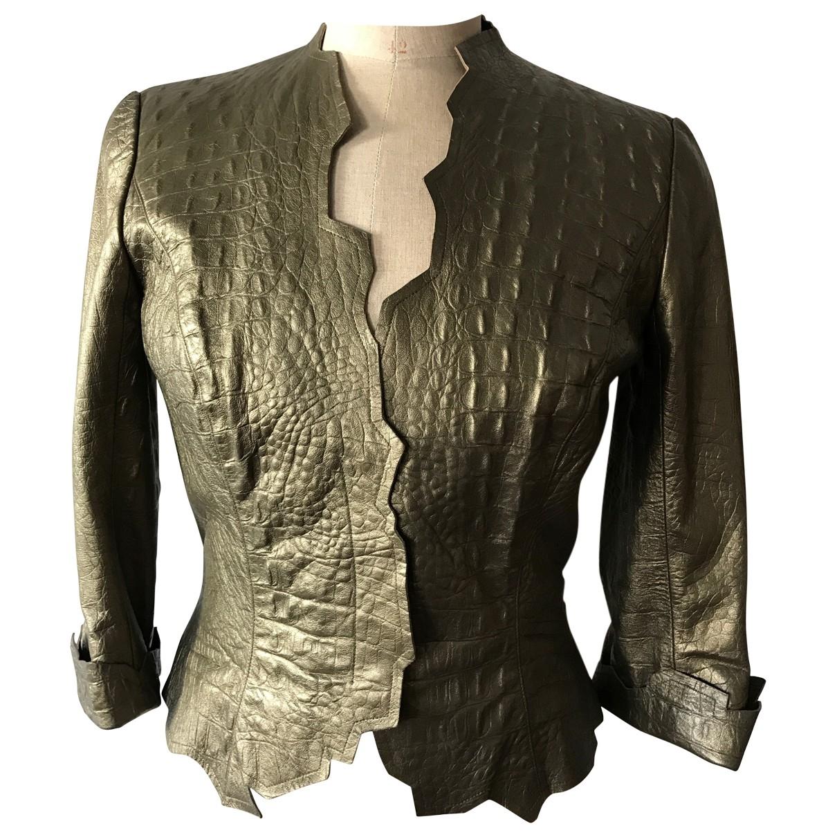 Thierry Mugler - Blouson   pour femme en cuir - metallise