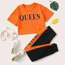 Girls Letter Graphic Top & Contrast Sideseam Pants Set