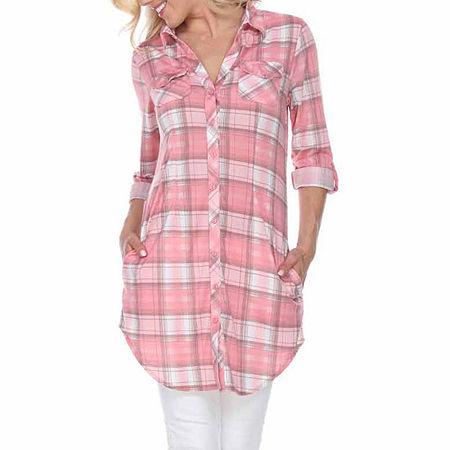 White Mark Piper Plaid Womens Long Sleeve Tunic Top, Medium , Pink