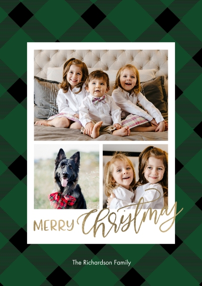 Christmas Photo Cards Flat Matte Photo Paper Cards with Envelopes, 5x7, Card & Stationery -Christmas Gold Script Plaid by Tumbalina