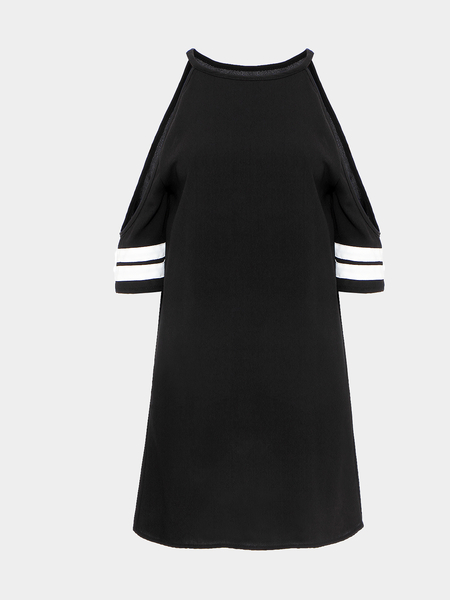 Yoins Black Cut-out Shoulders Strapped Dress With Baseball Strip Cuffs