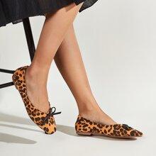 Slip On Flats mit Schleife Dekor und Leopard Muster