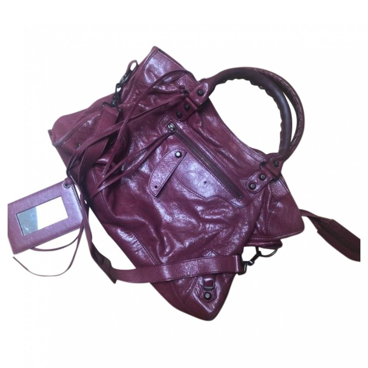 Balenciaga City Handtasche in  Bordeauxrot Leder
