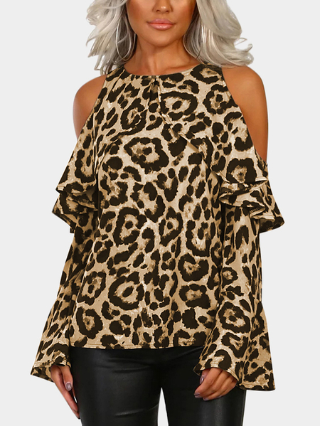 Yoins Khaki Leopard Cold Shoulder Long Bell Sleeves Flouncy Blouse