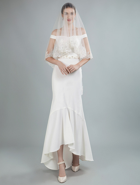 Milanoo Simple Wedding Dress Beaded Sash Off The Shoulder Asymmetrical Bridal Gowns