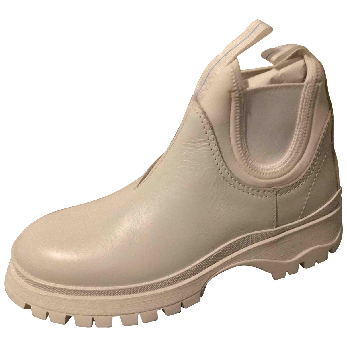 Prada - Boots Monolith  pour femme en cuir - blanc