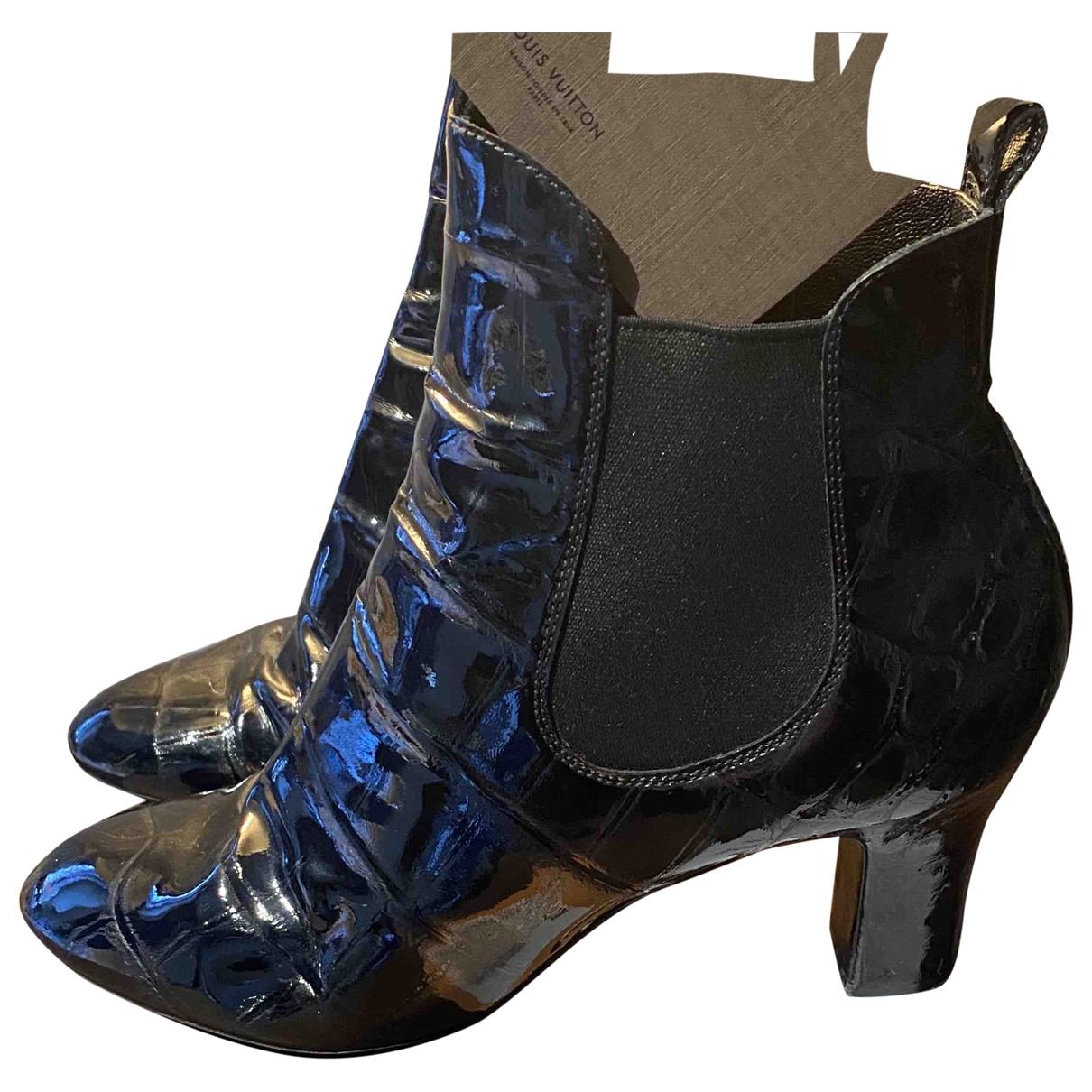 Louis Vuitton - Boots   pour femme en cuir verni - noir