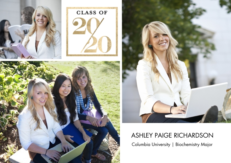 2020 Graduation Announcements 5x7 Cards, Premium Cardstock 120lb with Scalloped Corners, Card & Stationery -2020 Stylish by Tumbalina