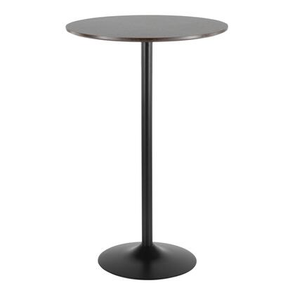 Pebble Collection TB-PEBBK+E Bar Table with Black Metal Base  Mid-Century Modern Style and Walnut Wood Top in Espresso
