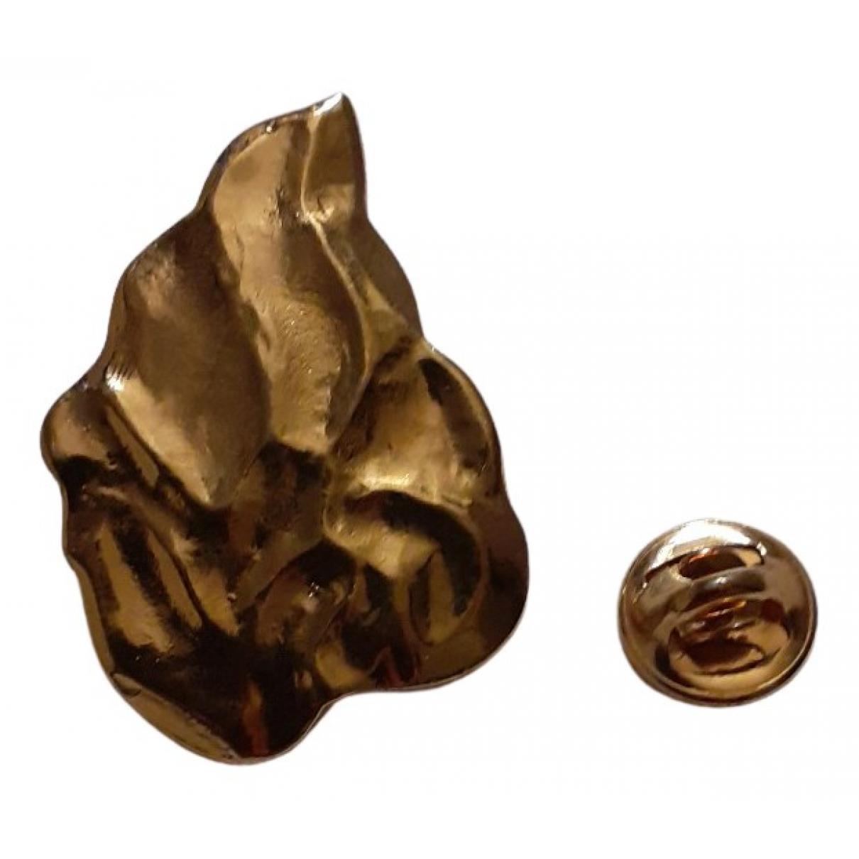 Broche en Metal Dorado Yves Saint Laurent