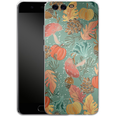 Huawei P10 Silikon Handyhuelle - Fall Woodland Green von Mukta Lata Barua