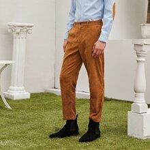 Men Buttoned Waist Corduroy Pants