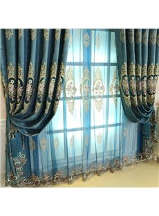 Precise Blue Yarn 2 Panels Living Room and Bedroom Decorative and Blackout Curtain