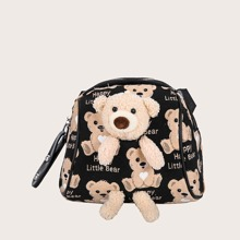 Bolso bandolera con diseño de oso con felpa