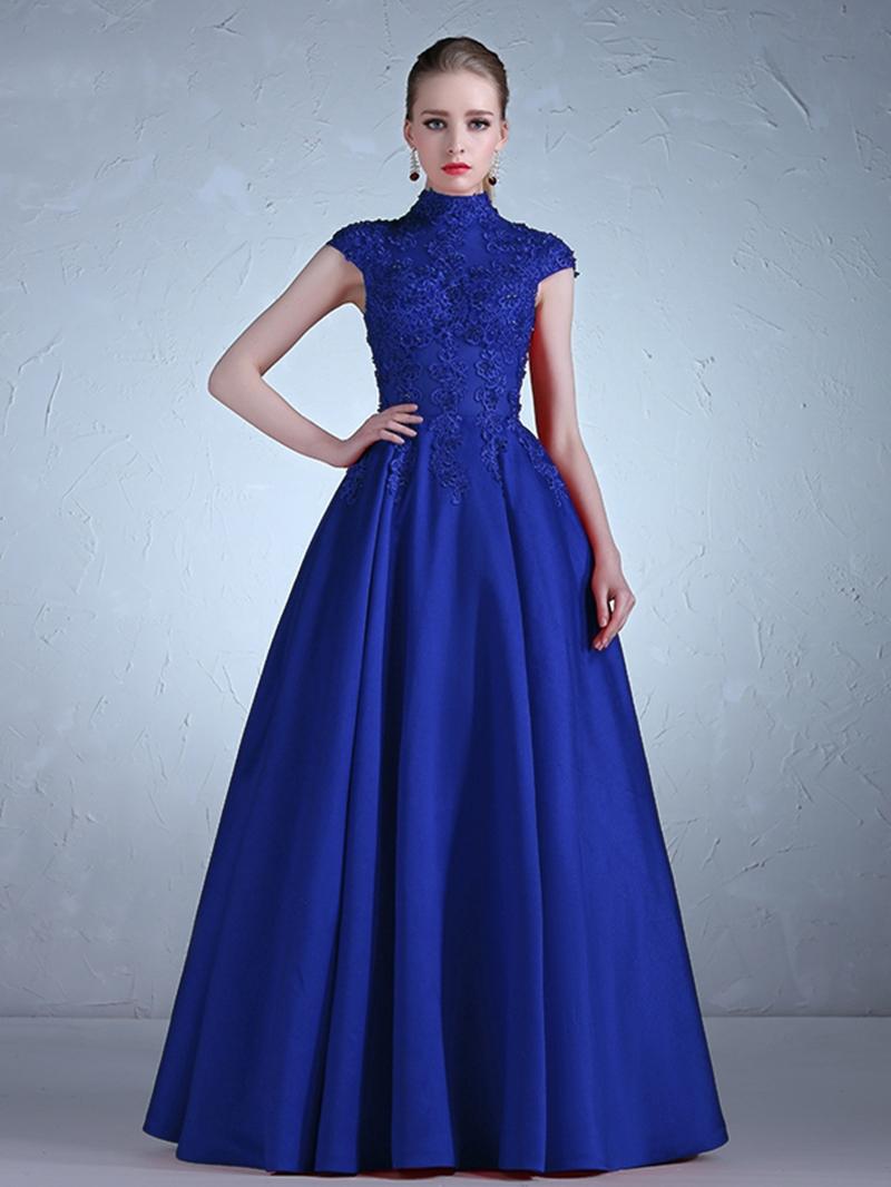 Ericdress Cap Sleeve High Neck Applique Lace A Line Evening Dress