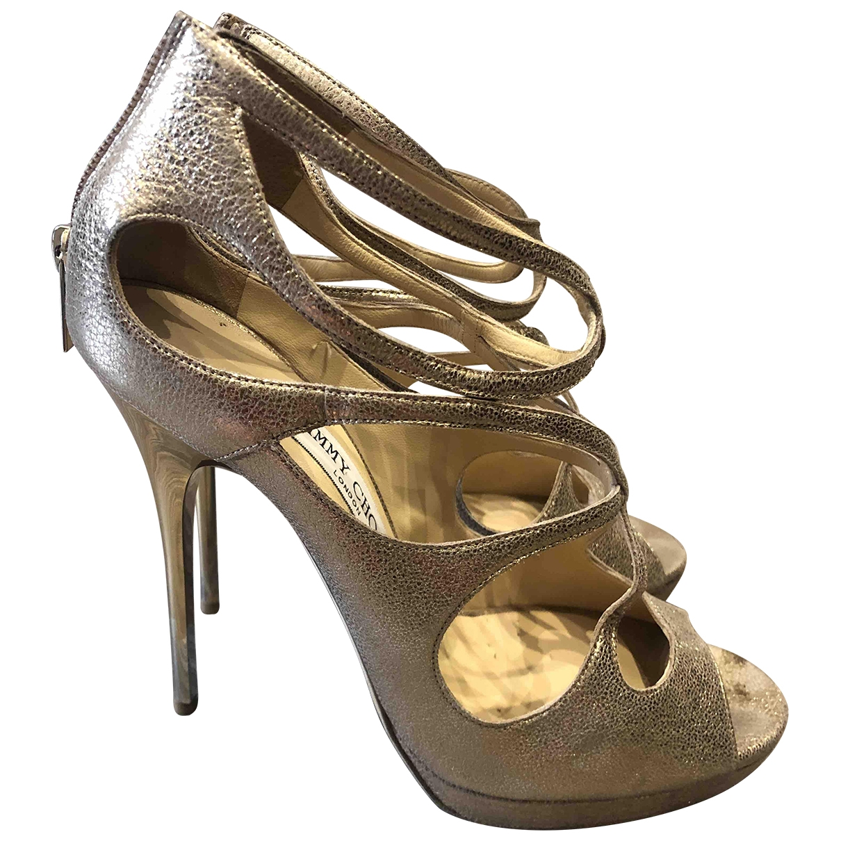 Jimmy Choo Lance Gold Patent leather Sandals for Women 39.5 IT
