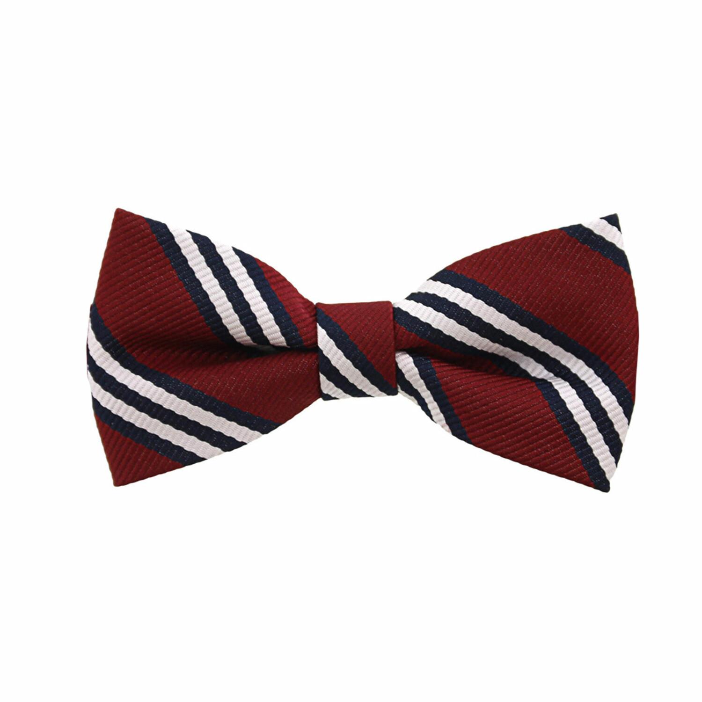 Janie And Jack Boy's Striped Bowtie Bow Ty - 2-5 - Maroon Stripe