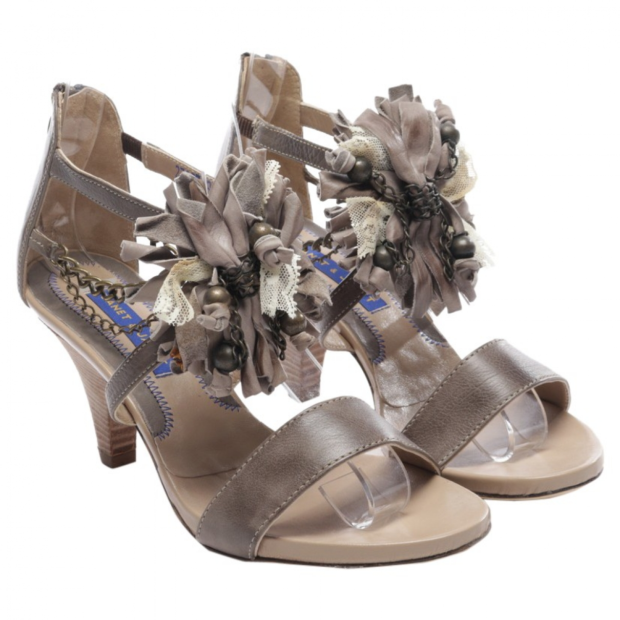 Janet & Janet \N Grey Leather Sandals for Women 39.5 EU