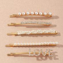 5 piezas horquilla con perla artificial con diamante de imitacion