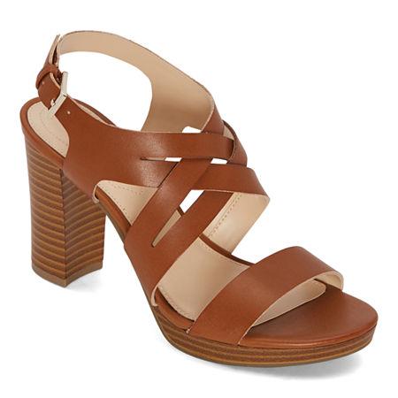 Liz Claiborne Womens Prime Heeled Sandals, 12 Wide, Brown