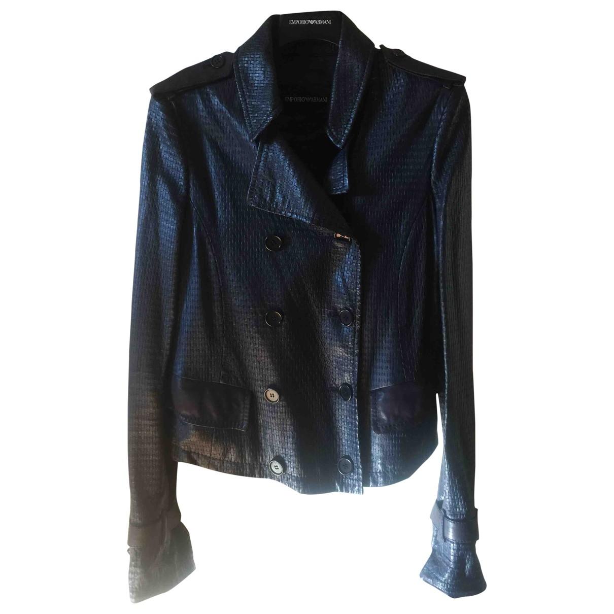 Emporio Armani - Veste   pour femme en cuir - bleu